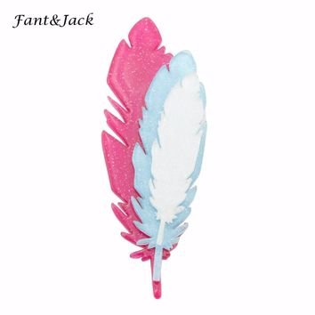 Fant&Jack original products pin brooch men and women manual feather Brooches Women Hats Scarf Suit Brooch Clothes Buckles