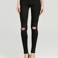J Brand Jeans - Mid Rise Super Skinny Destruction in Blackout | Bloomingdales's