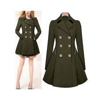 Autumn Women Slim Outerwear Jacket Coat Windbreaker a13032