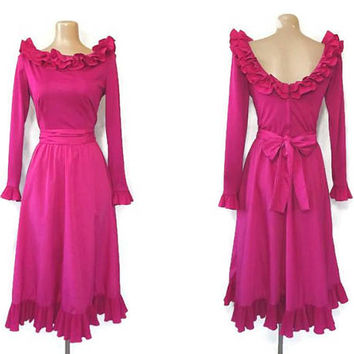 Vintage 70s Formal Dress | 1970s Cocktail Gown | Designer Victor Costa | Ruffled Dress | Full Dress | Party Dress | Magenta Pink | Size 10
