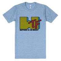 WTF Happened to the Music?-Unisex Athletic Blue T-Shirt