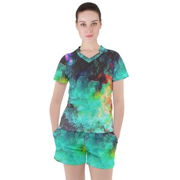 3d Paint Women's Mesh Tee And Shorts Set