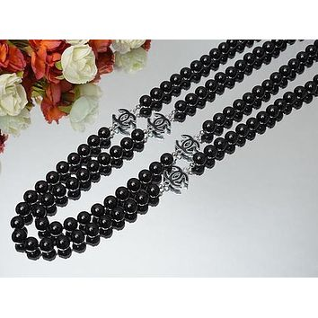 Chanel Woman Fashion Logo Crystal Obsidian Necklace