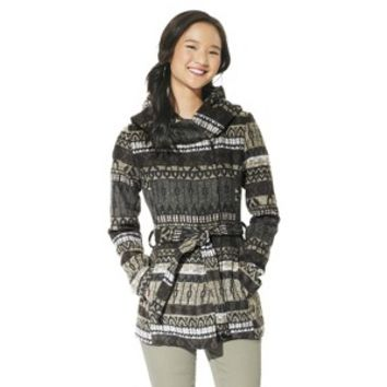 Mossimo Supply Co. Junior's Printed Faux Wool Wrap Jacket -Grey
