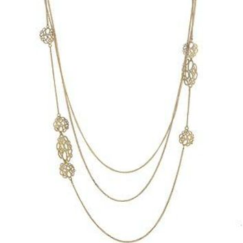 Liber Filigree Golden Multi Chain Necklace
