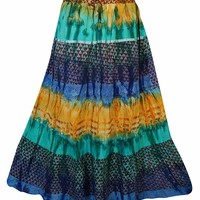 Mogul Interior Womens Summer Skirt Multicolor Tie Dye Printed Hippy Chic Skirts S/M: Amazon.ca: Clothing & Accessories