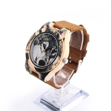 Wooden Men Watch 3D Printing Wolf Head Icon Dial Quartz-watch Wood Clock in Gift Box