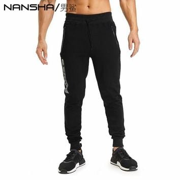NANSHA Brand Muscle Fitness Mens Long Pants New Casual Cotton Trousers Exercising Bodybuilding Gyms Breathable Pants