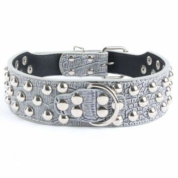 Benala Unique Round Spiked Studded Faux Leather Receiver Collar Large Dog Pitbull Bully Terrier