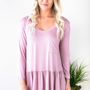 Ruffle Bliss Front Pocket Tunic - Rose