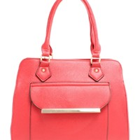 Embossed To Stand Out Red Front Pocket Satchel Purse