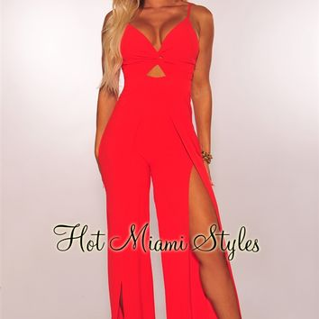 Red Knotted Slit Palazzo Jumpsuit