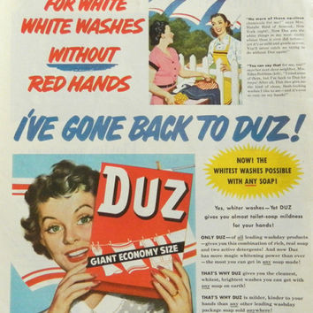 Duz Laundry Ad - 1950's laundry room decor, wash soap, vintage washer detergent, wash day wall art
