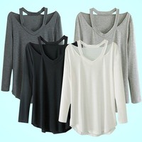 Women's V-neck Plus Size Tops Loose Long Sleeve T-Shirt Casual Dress