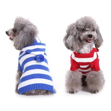 Warm Stripe Hooded Pet Dog Sweater Turtle Neck Hoodie Knitwear Puppy Clothes