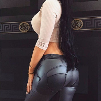 Sexy Push Up Leather Leggings