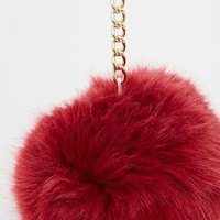 ASOS Large Fluff Ball Key Ring at asos.com