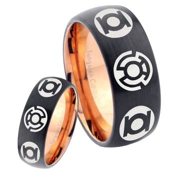 His Hers Green Blue Lanterns Dome Tungsten Rose Gold Mens Wedding Band Set