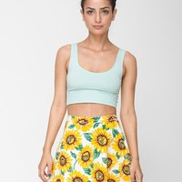 Sunflower Print Stretch Bull Denim Circle Skirt | Mini | Women's Skirts | American Apparel