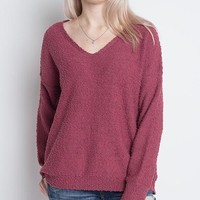 dreamers by debut - soft boulce yarn v-neck pullover - berry