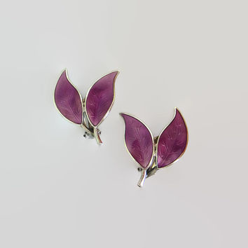 Purple Enamel Double Leaf Earrings, Norway Sterling Clips, David-Andersen, Willy Winnaess Designer Signed, Basse-Taille, Unusual & Lovely