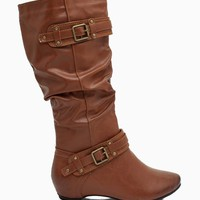 Amar 34A Hardware Buckles Pu Slouch Boot