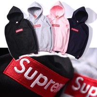 shosouvenir Supreme Couple Casual Letter Print Velvet Long Sleeve hooded Pullover Sweatshirt Top Sweater hoodie-3
