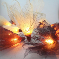 20 Earth Tone Bodhi Leave Flower Fairy Lights String 3.5M Home Accent Floral Decor