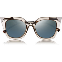 Fendi - Embellished cat eye acetate mirrored sunglasses