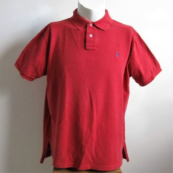 80s Red Pique Cotton Polo Shirt Vintage Ralph Lauren Polo Short Sleeve 1980s Mens Shirt XL
