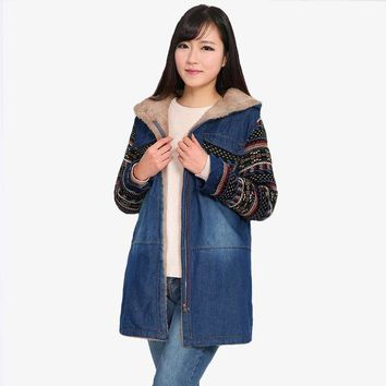 Vintage Hooded Winter Overcoats Women Denim Coat 2018 Harajuku Female Coats Thicker Warm Cotton Jackets Lady Denim Outerwear