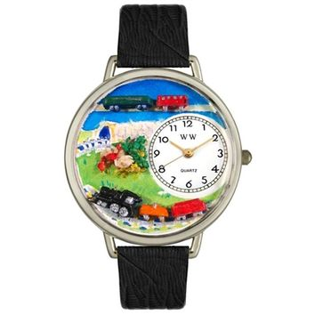 SheilaShrubs.com: Unisex Trains Black Skin Leather Watch U-1610013 by Whimsical Watches: Watches