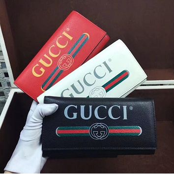 Gucci Fashion Big Logo Women Buckle Leather Wallet Purse 3 Color