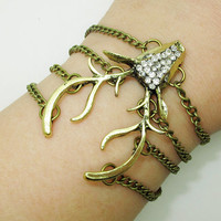 moose stag elk deer antlers chain bracelet with clear crystals,Christmas gift -  Best Chosen Gift