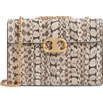 Tory Burch Medium Gemini Link Genuine Snakeskin Shoulder Bag | Nordstrom