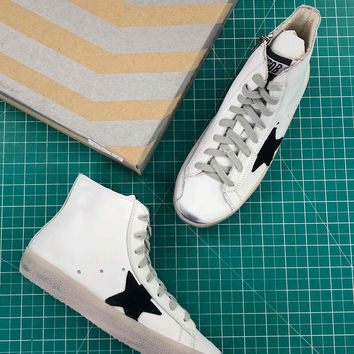 Ggdb Golden Goose Francy Zip White Black Sneakers - Best Online Sale