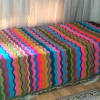 Crochet Zig Zag Blanket Afghan Blanket Chevron Blanket Lap Cover Ripple Blanket Rainbow Colors Ready to Ship Gift Ideas Home Decor