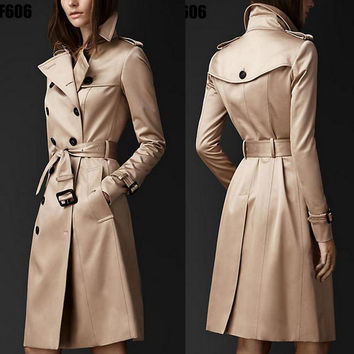 British Style Trench Coat For Women 2016 Spring Autumn Women Coat  Double Button Long Sleeve Over Coat Plus Size XXL