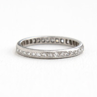 Antique Platinum Diamond Eternity Wedding Band Ring - 1/2 CTW Size 6 3/4 Vintage Art Deco Fine Engagement Bridal Jewelry
