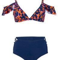 Wildchild High Waisted Leopard Print Two-Piece Swimsuit with Ruffles