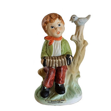 Hummel Accordion, Boy Figurine, Wandertag Porcelain, Hunfelden Figurine, Collectible Hummel, Hummel Boy, Nursery Figurine, Vintage Figurine