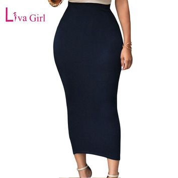 Liva Girl 2017 Autumn Winter Jupe Longue Black Grey Maxi Skirt Womens Sexy Bodycon Skirts Pencil High Elastic Long Wrap Skirt