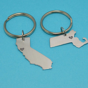 ANY TWO STATES United States Keychain or Necklace Set - Best Friend Gift - Couples Gift - Long Distance Love