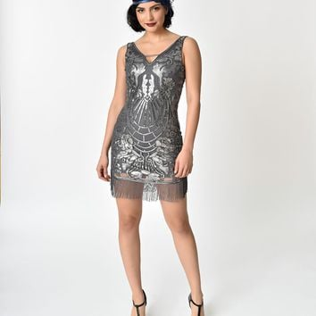 1920s Style Grey & Silver Sequin Fringe Cocktail Dress