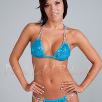 Rocket Queen Sequin Competition Bikini Swimsuit w Chains for Contests & Pageants