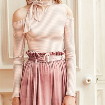 Pink Stripe Cold Shoulder Tie Neck Long Sleeve T-shirt