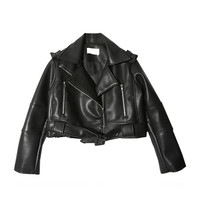 Text Accent Short Biker Jacket (Black) | STYLENANDA