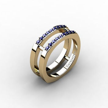 Mens Modern 14K Yellow Gold Blue Sapphire Cluster Wedding Ring G10042-14KYGBS