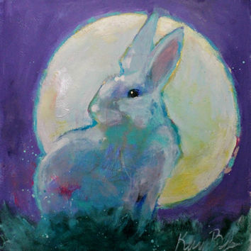 "Animal Totem, Wildlife Painting, Colorful Original Artwork, ""Sometimes the Moon is Your Halo"" 12x12"""