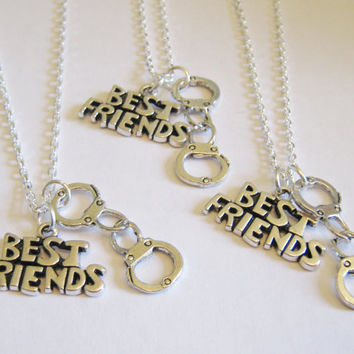 3 Best Friends Partner In Crime Handcuff Necklaces BFF SISTERS